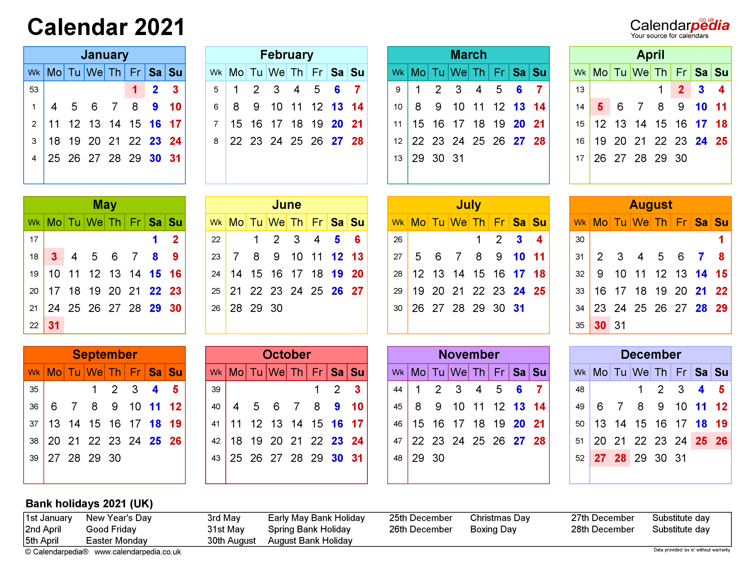 Large Calendar 2021 Printable   Calendar Printables Free