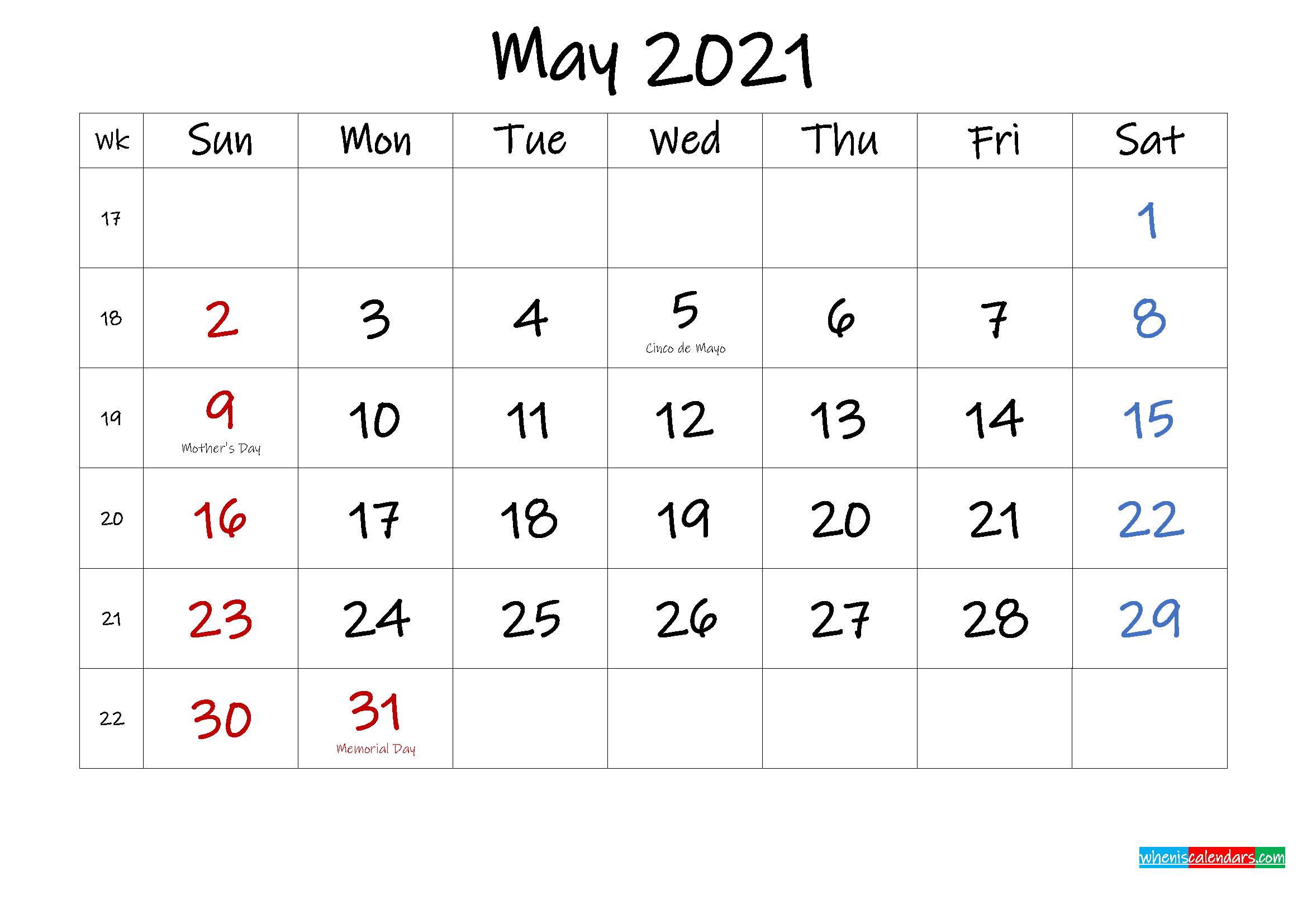 May 2021 Free Printable Calendar With Holidays - Template