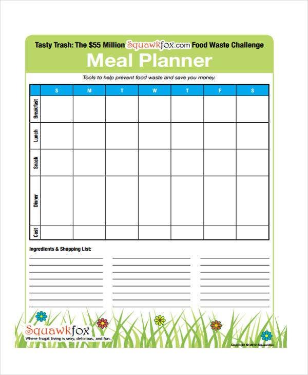 Meal Calendar Templates - 10+ Free Word, Pdf Format