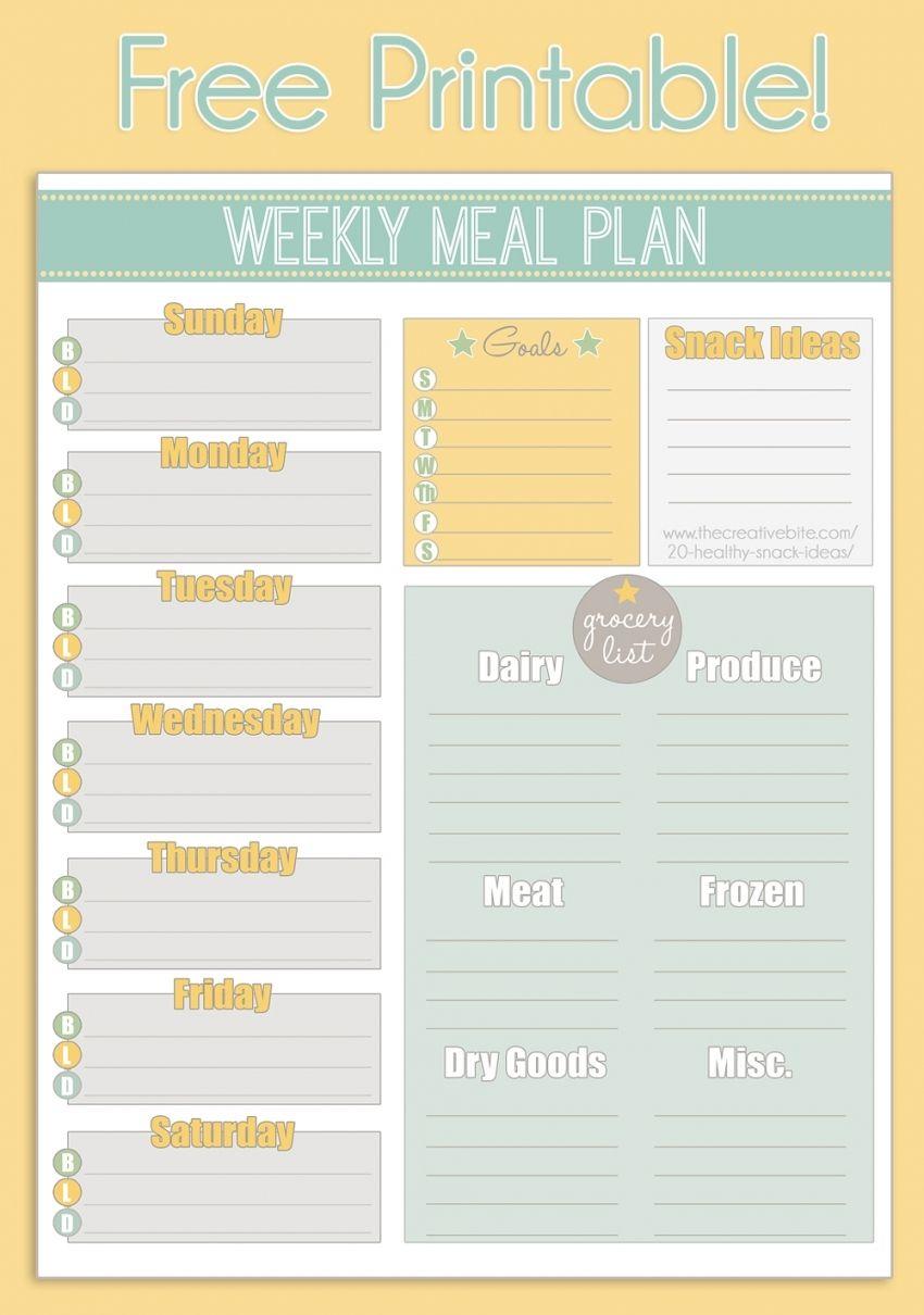 Meal Planning Calendar Printable In 2020   Meal Planning