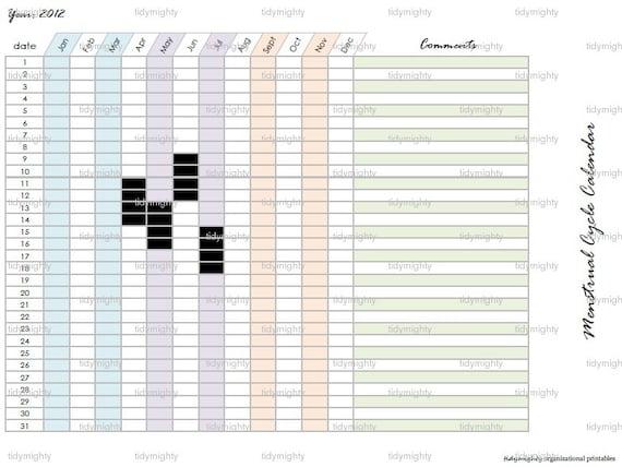 Menstrual Cycle Calendar / Tracker Printable Pdf Instant
