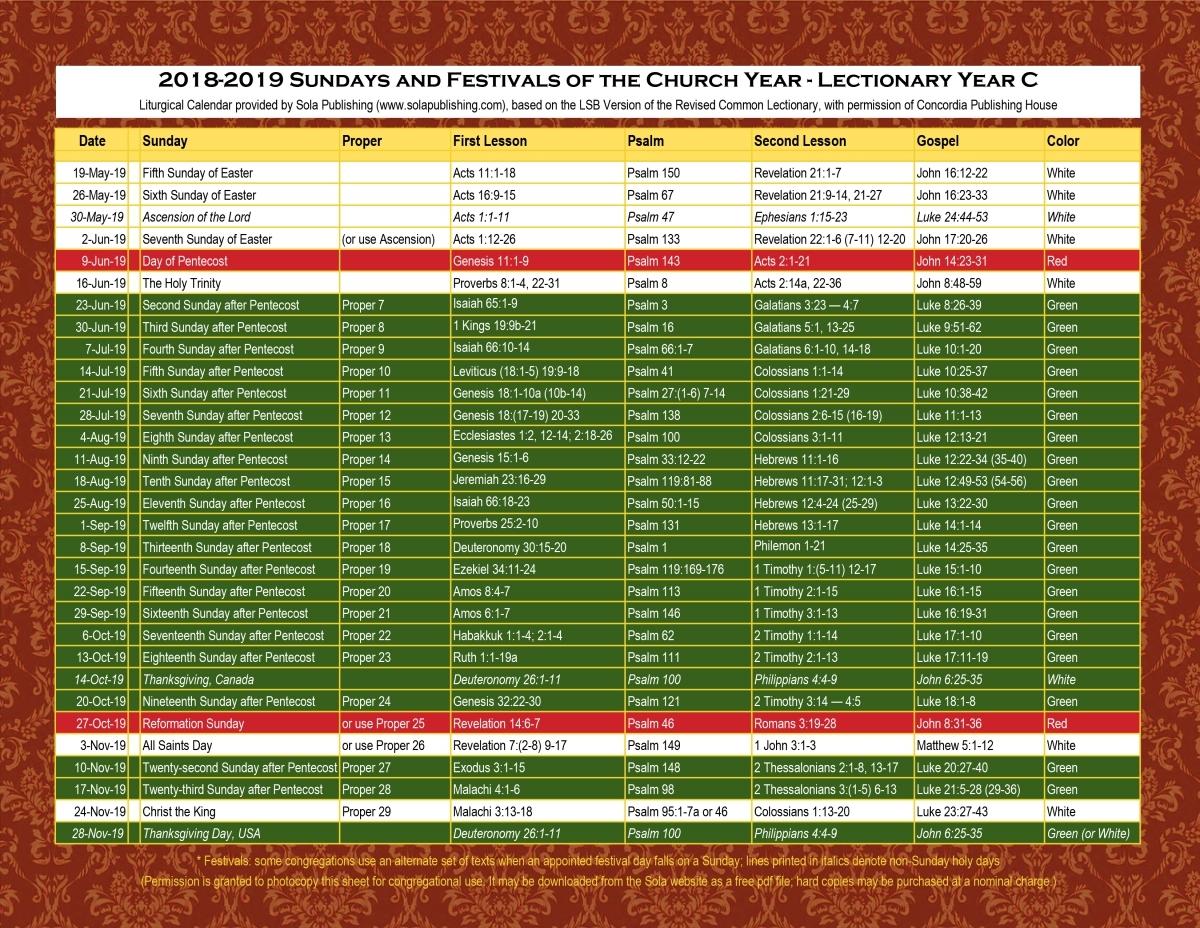 Methodist Pulpit Paraments Color Chart | Printable