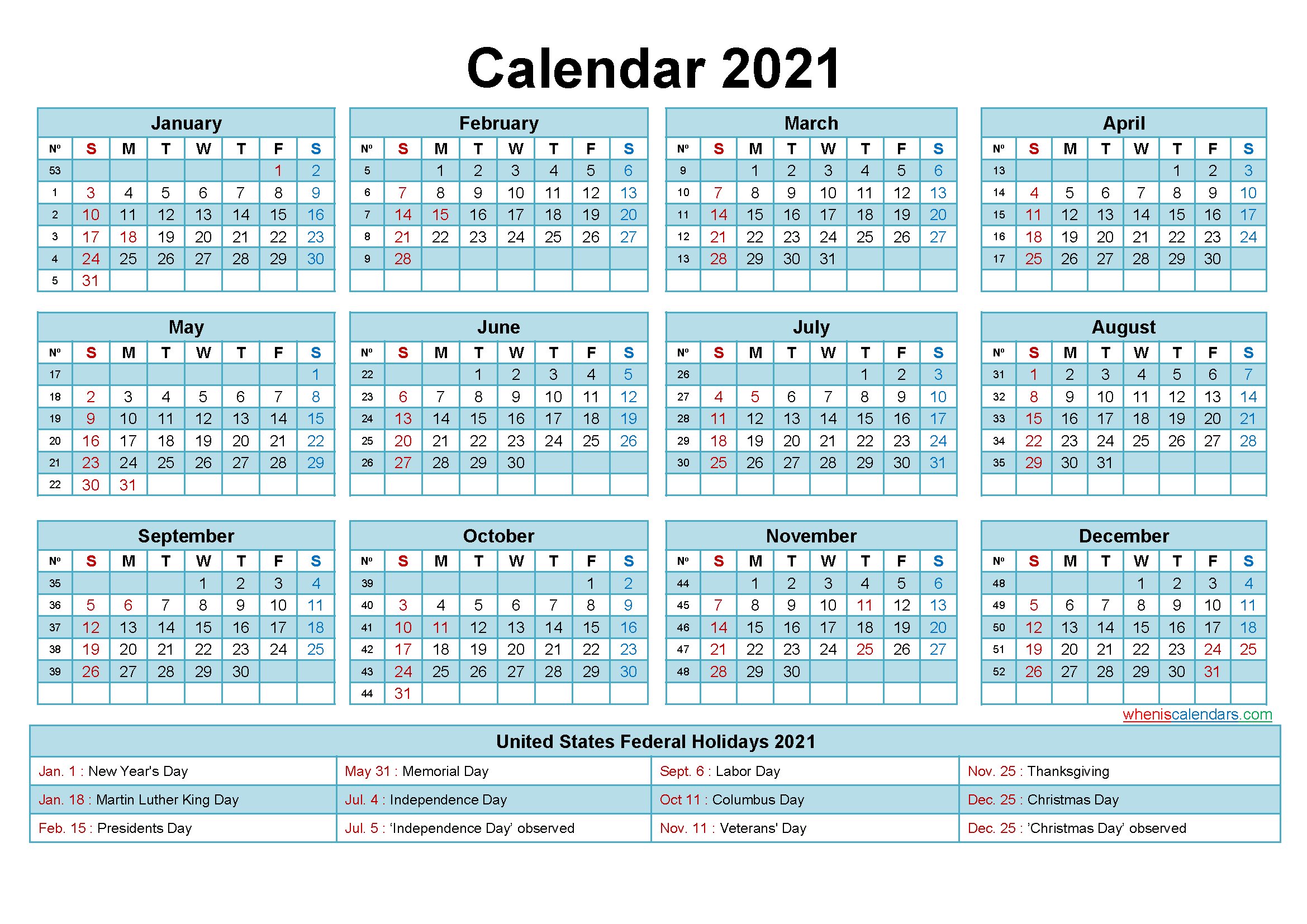 Microsoft Word 2021 Printable Monthly Calendar With