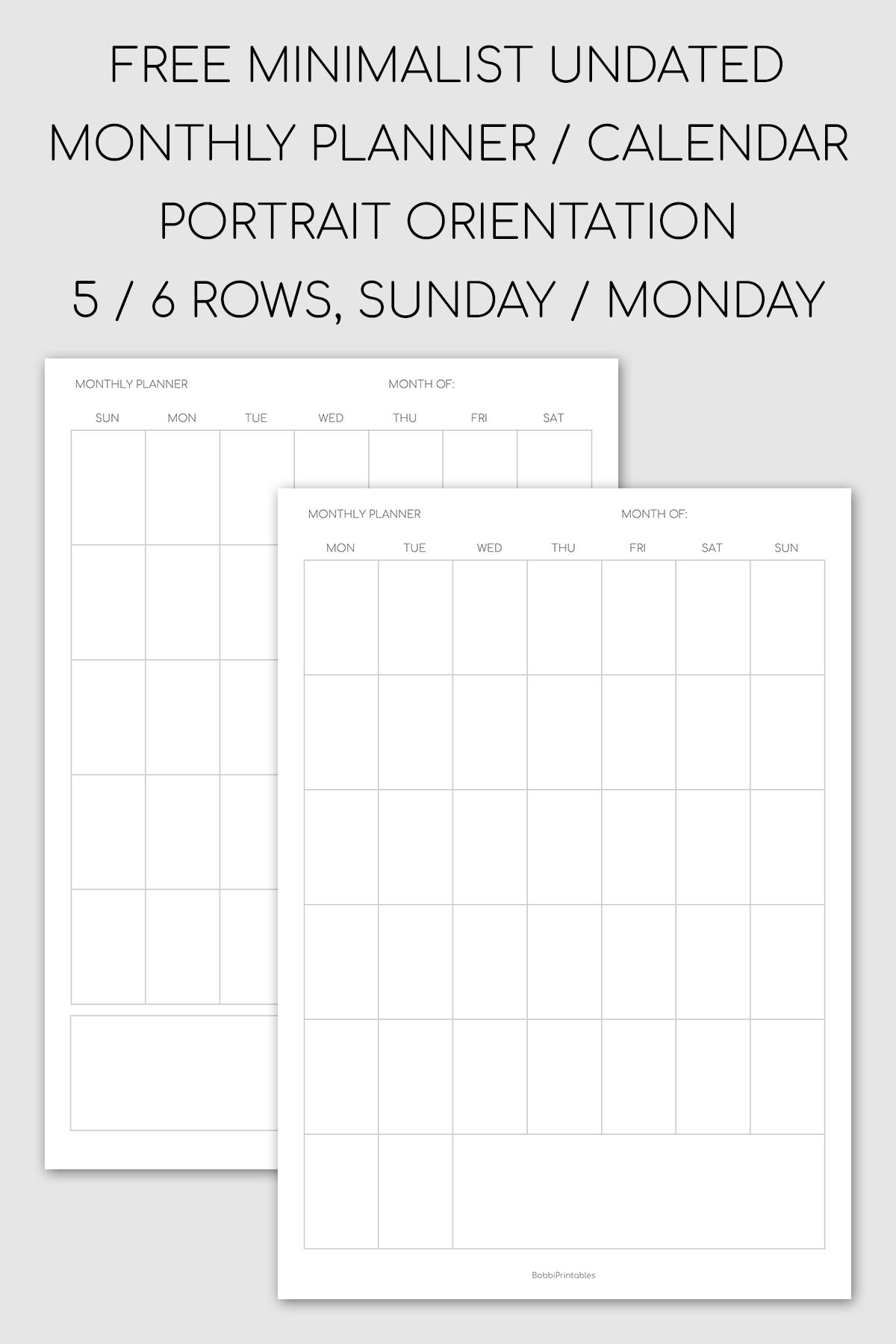 Minimalist Monthly Planner / Undated Calendar - Portrait