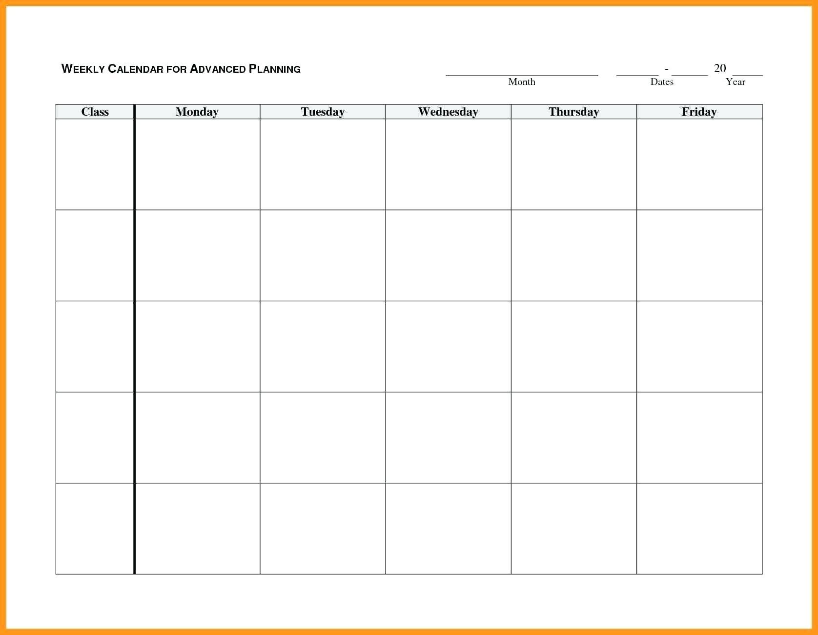 Monday Through Friday Planner Template - Calendar
