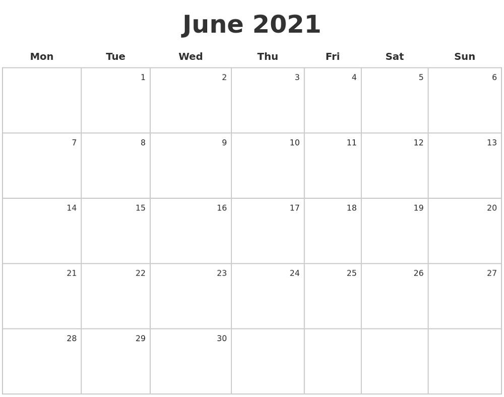 Monday To Sunday Calendar 2021 Full Months | Free