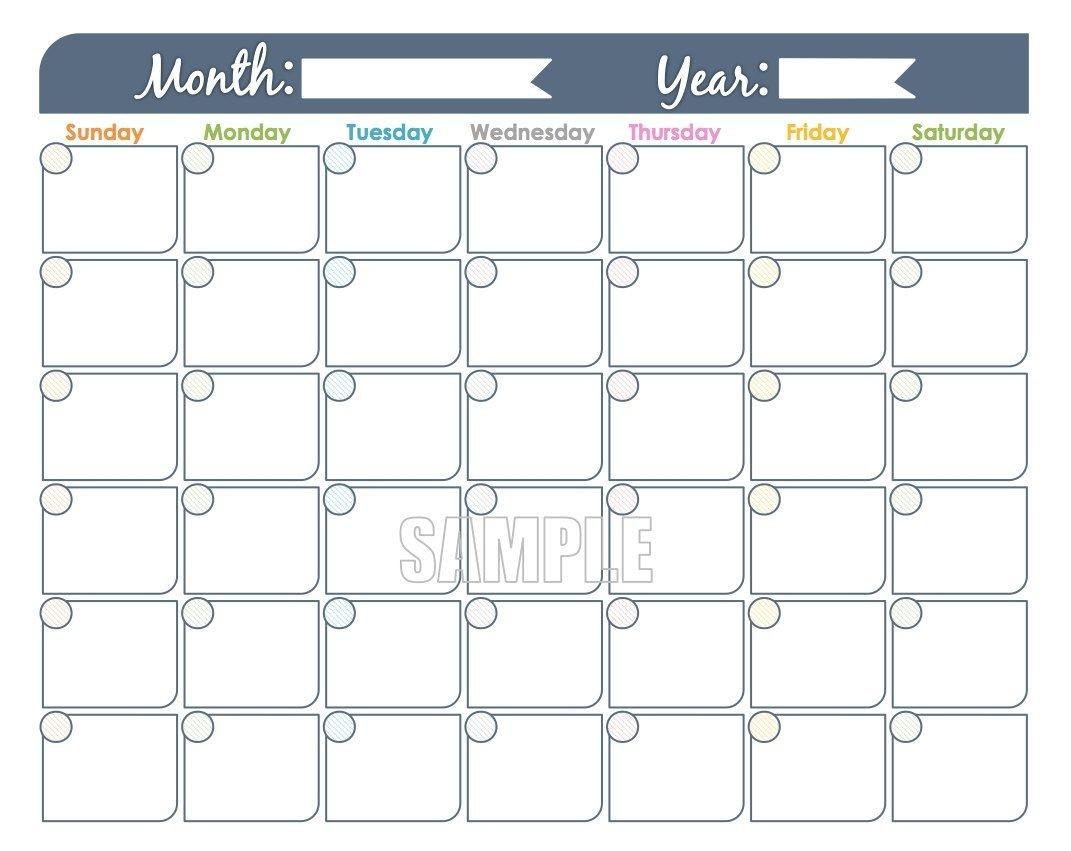 Monday To Sunday Monthly Fillable Calendar | Calendar