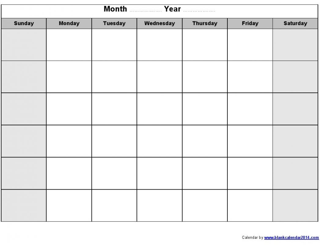 Monday To Sunday Monthly Fillable Calendar | Example