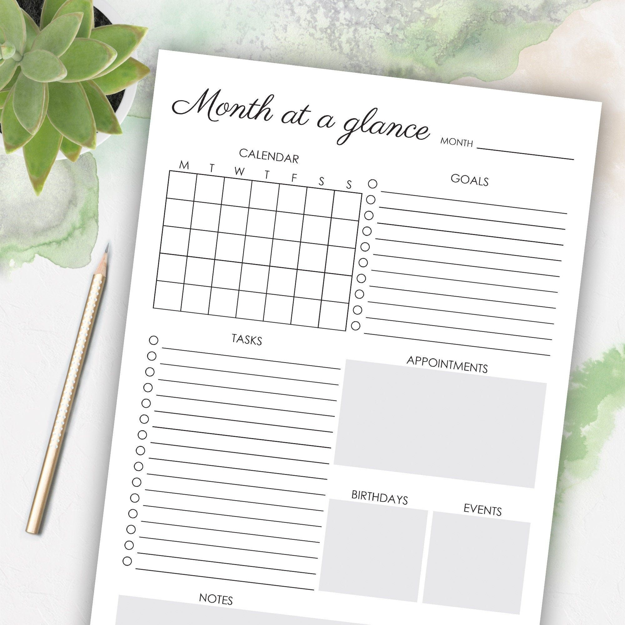 Month At A Glance Pdf - Example Calendar Printable