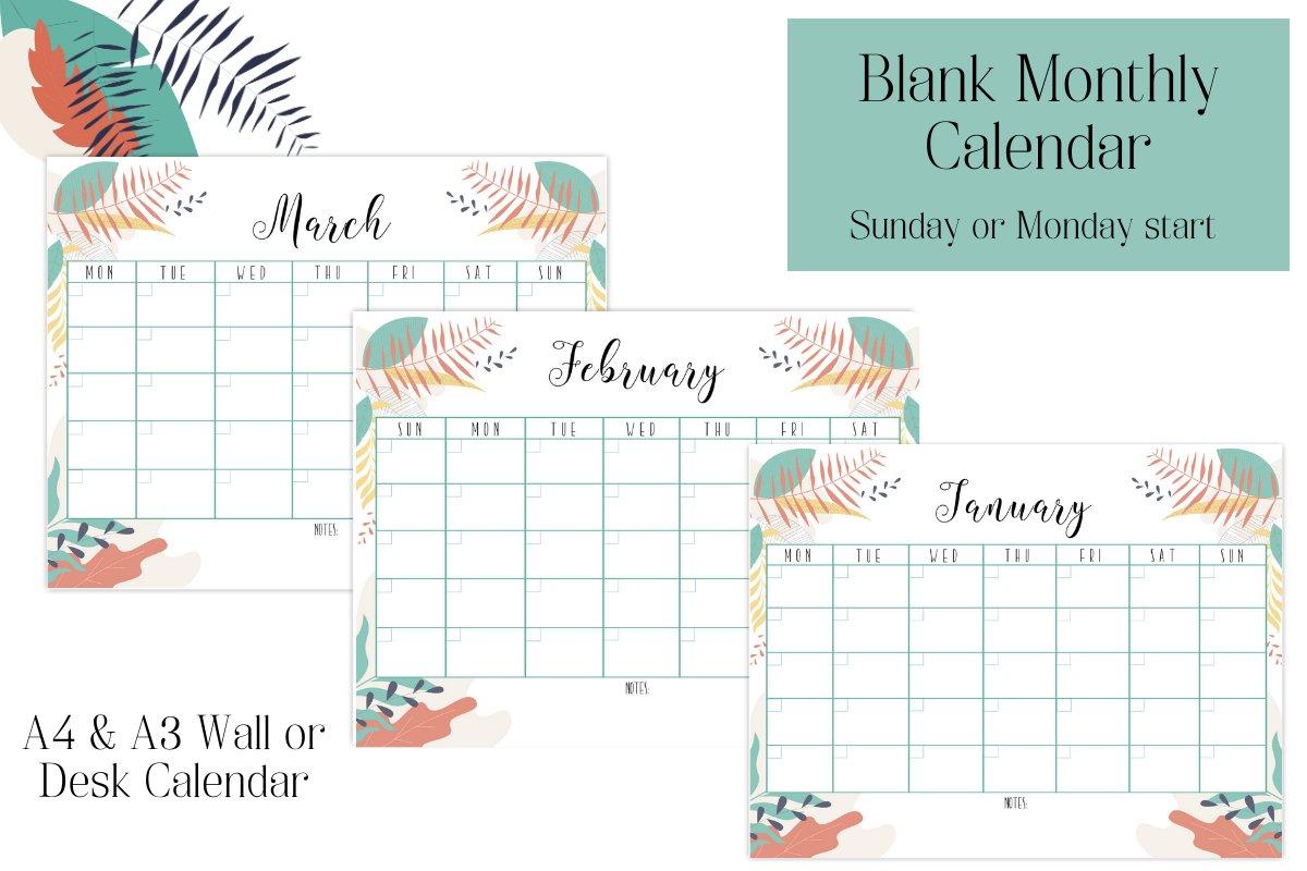 Monthly Calendar, Blank Calendar, Sunday Start, Monday