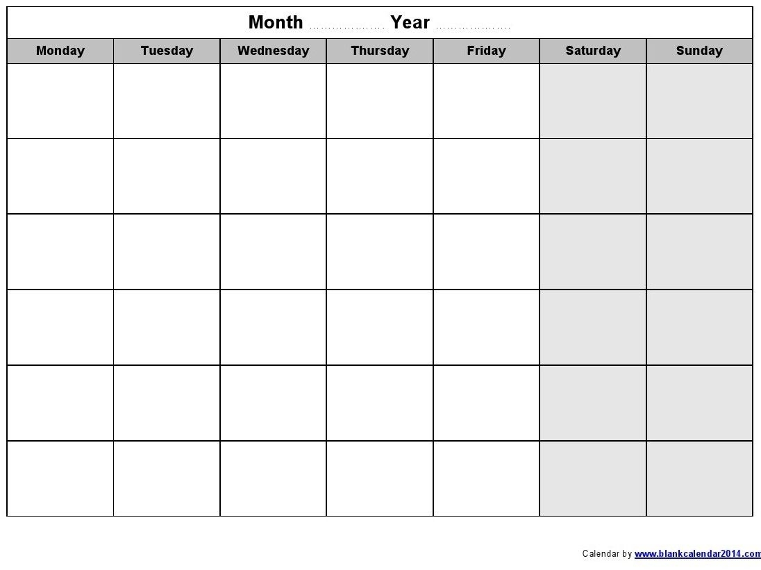 Monthly Calendar Monday To Friday • Printable Blank