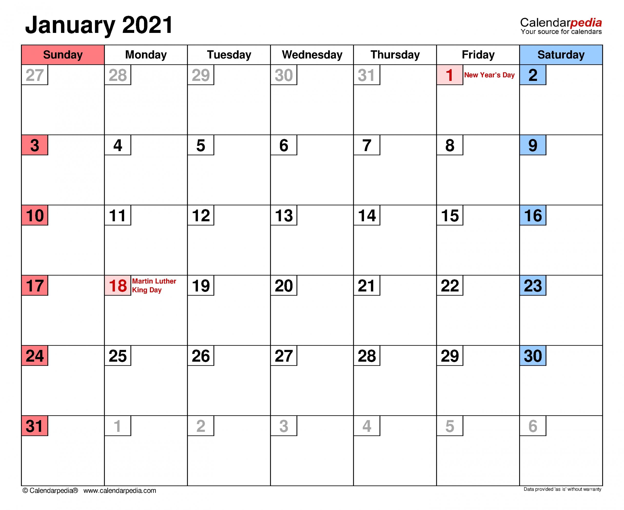 Monthly Calendar With Writing Space Printable 2021 - Calendar Inspiration Design