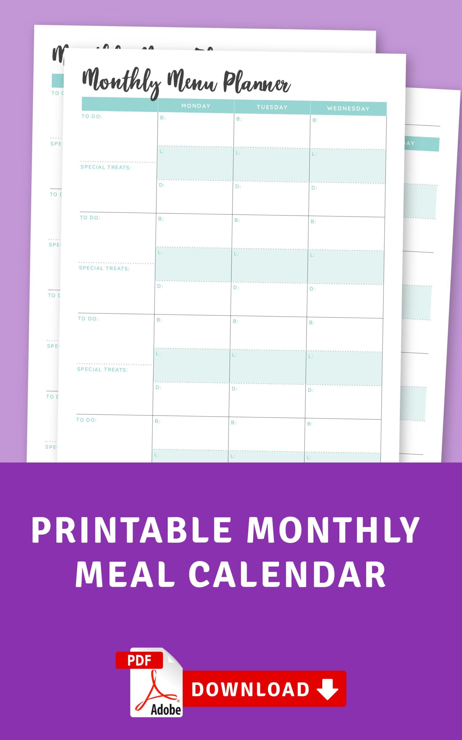Monthly Meal Calendar   Monthly Menu Planner, Monthly Meal