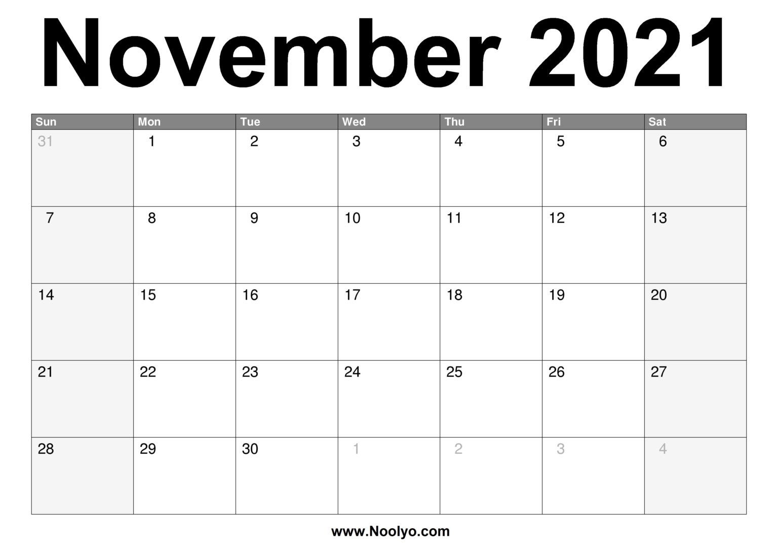 November 2021 Calendar Printable - Free Download - Noolyo