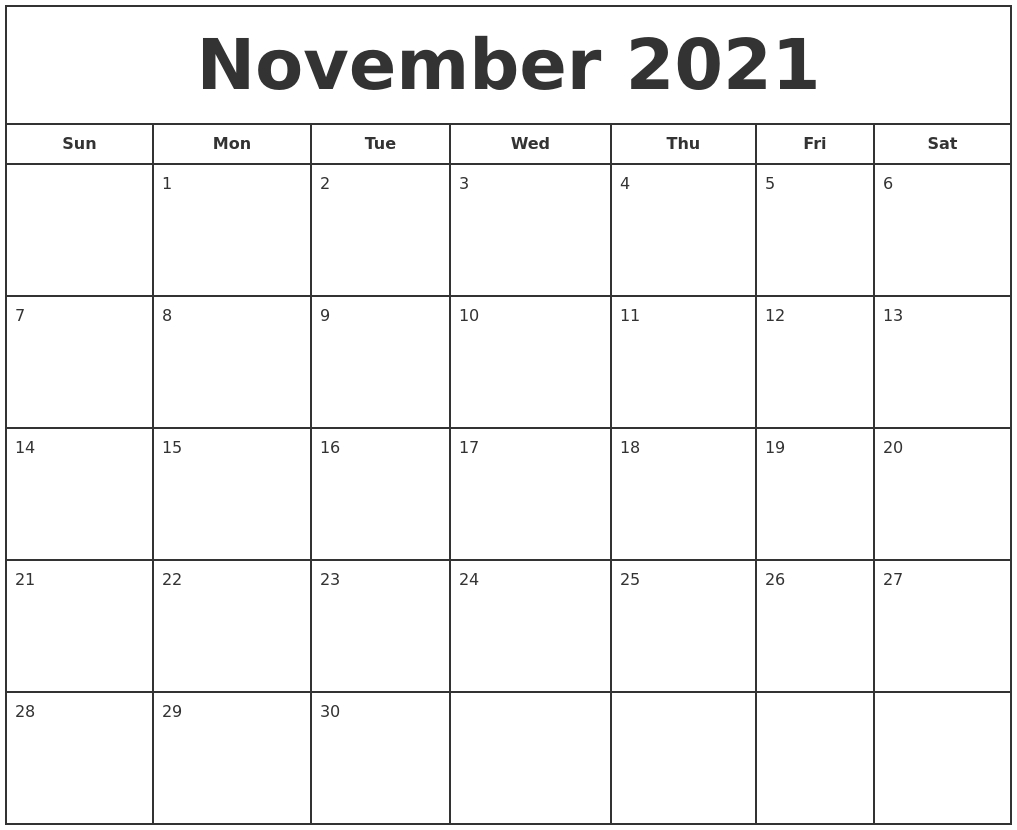 November 2021 Print Free Calendar