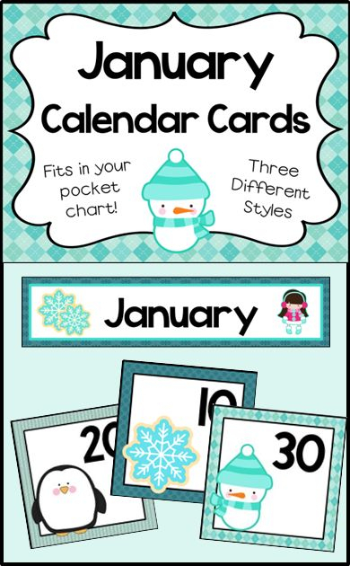 Number Cards For Your January Calendar. 3 Designs. Cards