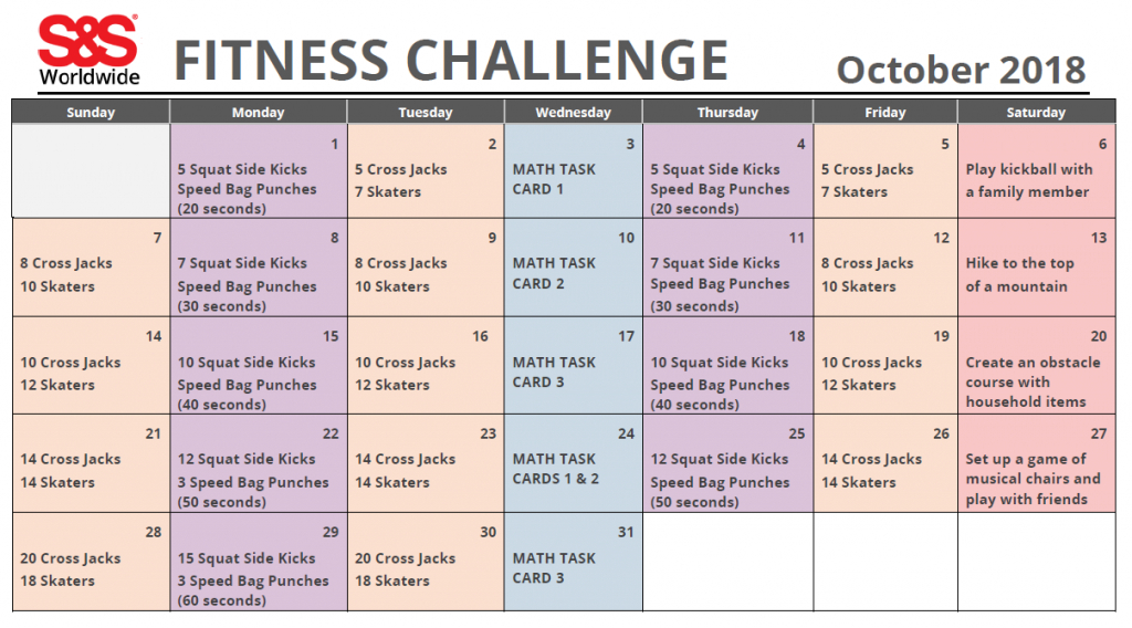 October Printable Fitness Challenge Calendar (With Images