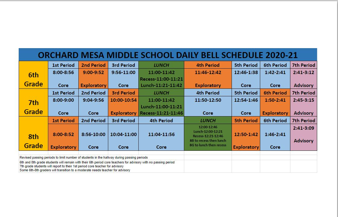 Omms Bell Schedule - Orchard Mesa Middle School