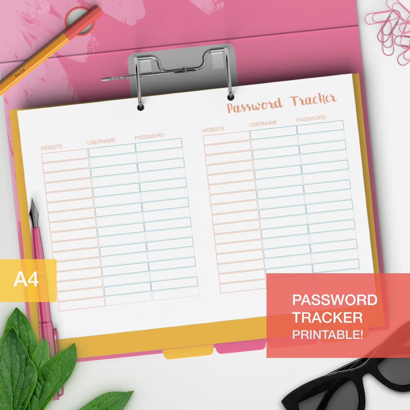 Password Tracker Organizer Printable A4 Planner Insert | Etsy