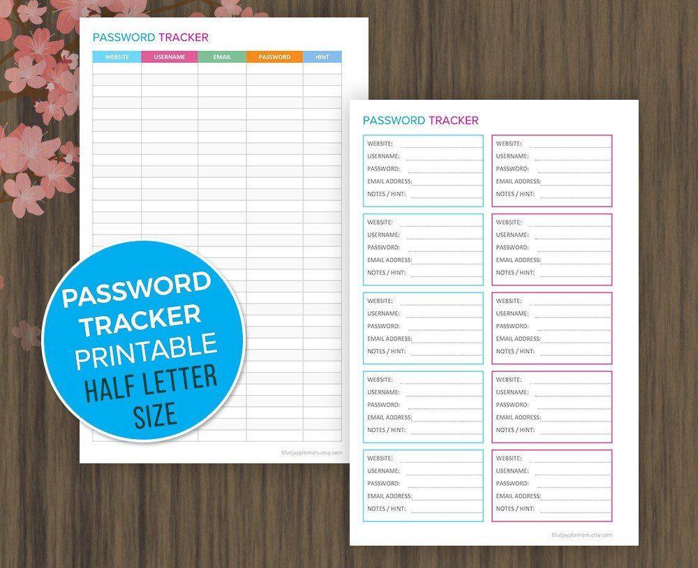 Password Tracker Printable Password Log Password Organizer