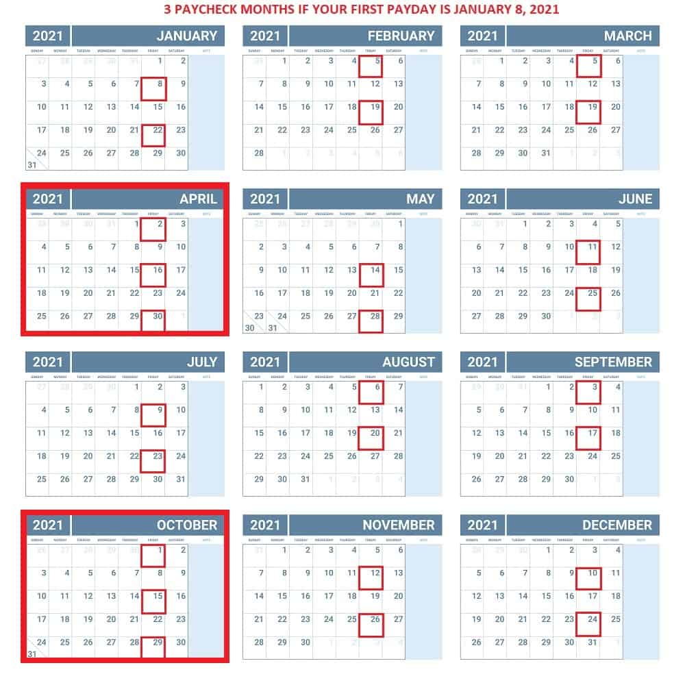 Payperiod Calendar Template 2021 : 15 Free Monthly