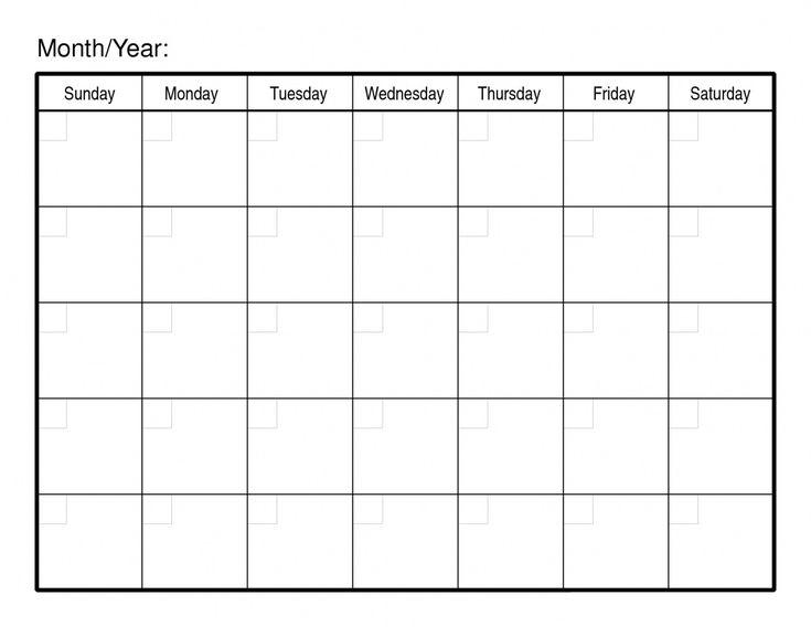 Pick Blank 30 Day Calendar Template   Blank Calendar Pages