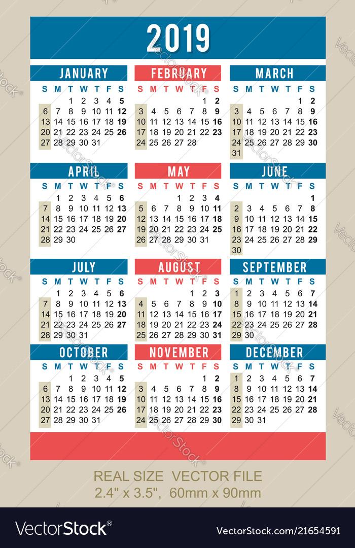 Pocket Calendar 2019 Start On Sunday Royalty Free Vector