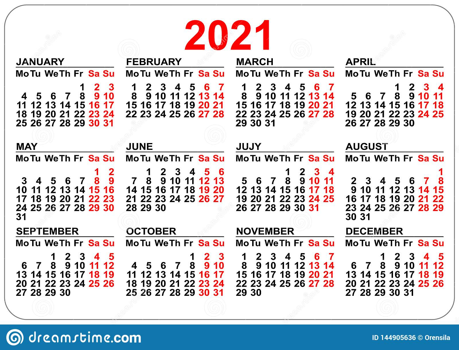 Pocket Calendar 2021 Grid Template Isolated On White Stock