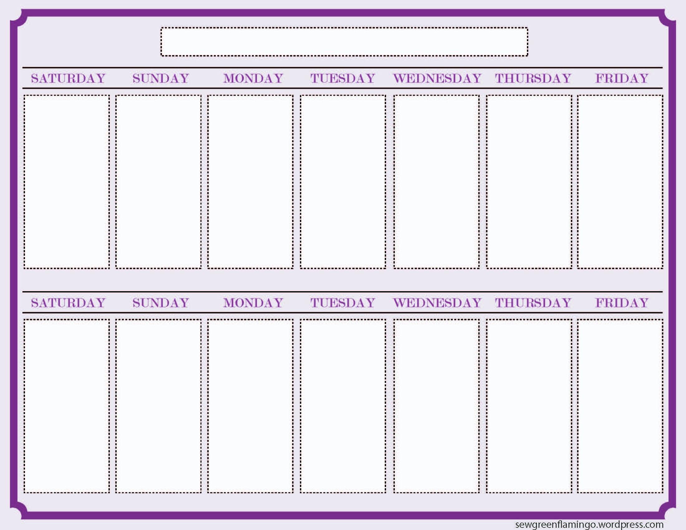 Printable 2 Week Calendar Two Week Calendar Template