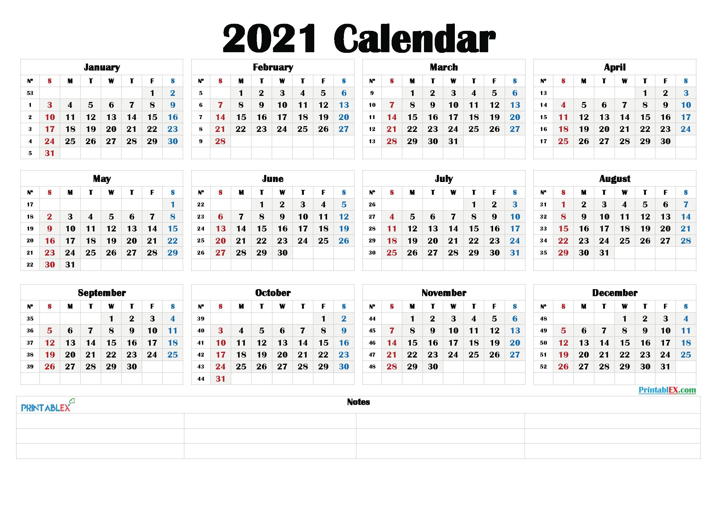 Printable 2021 Calendarmonth - 21Ytw192
