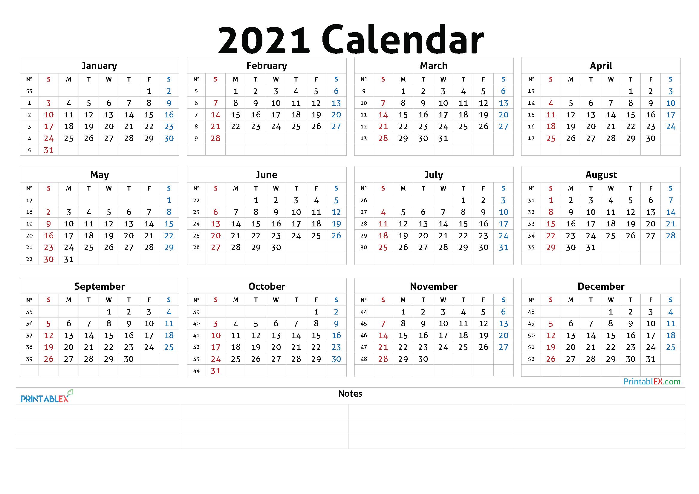 Printable 2021 Calendaryear - 21Ytw46