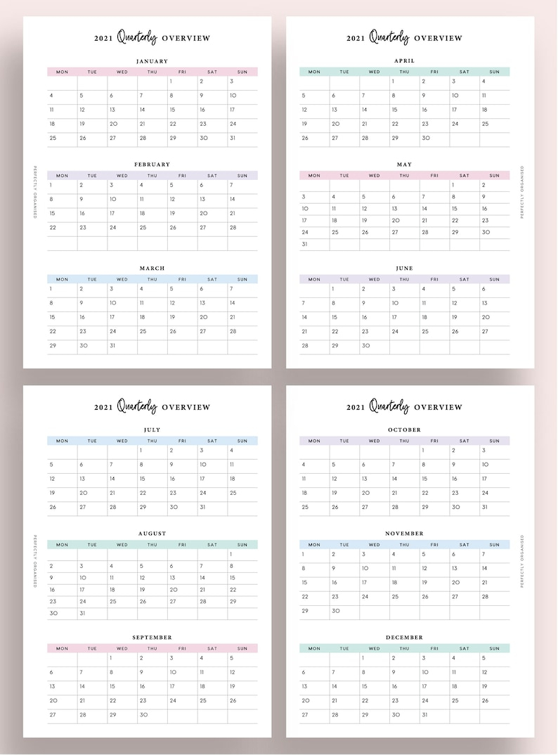 Printable 2021 Quarterly Overview 2021 3 Month Overview   Etsy