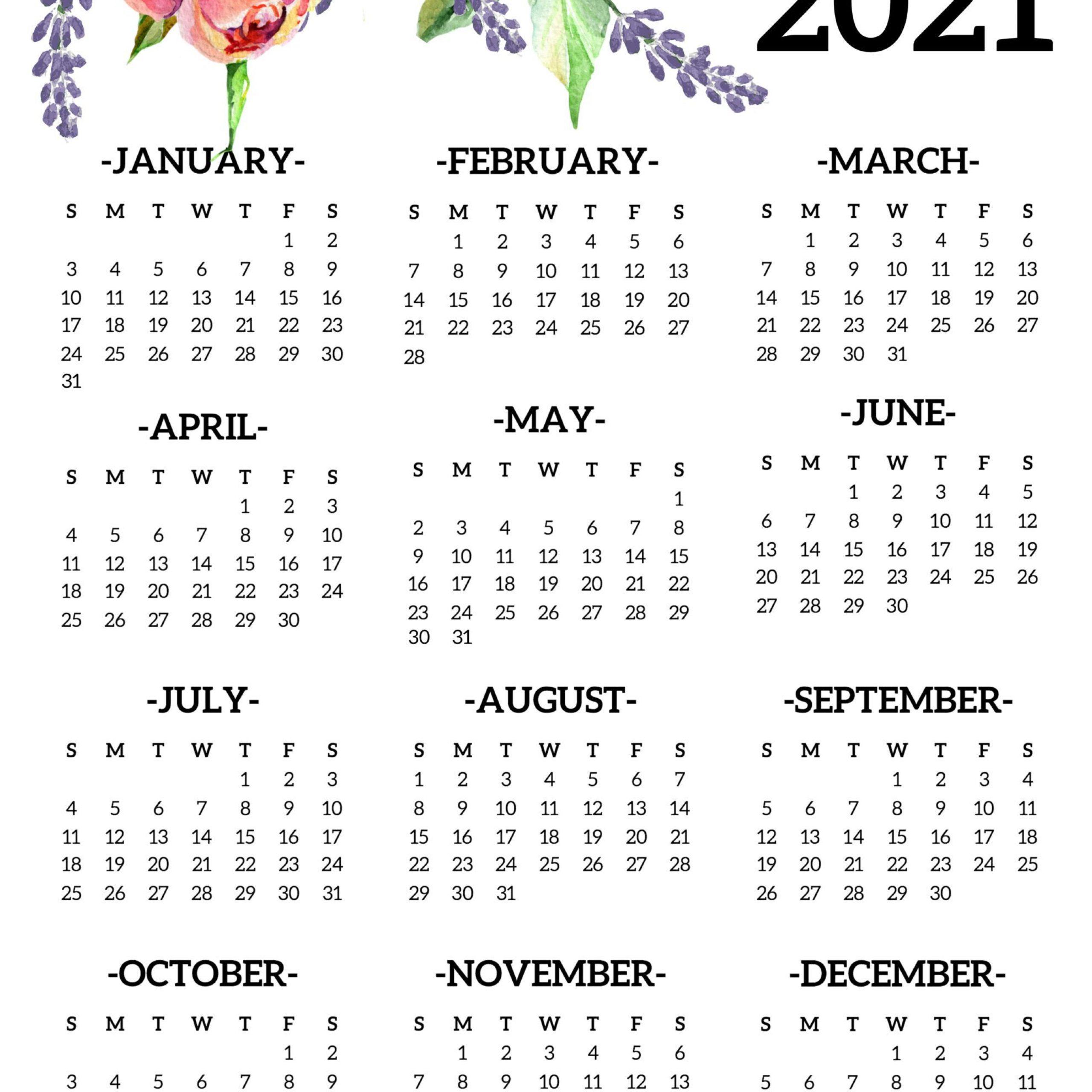 Printable 2021 Yearly Calendar One Page   Free Printable