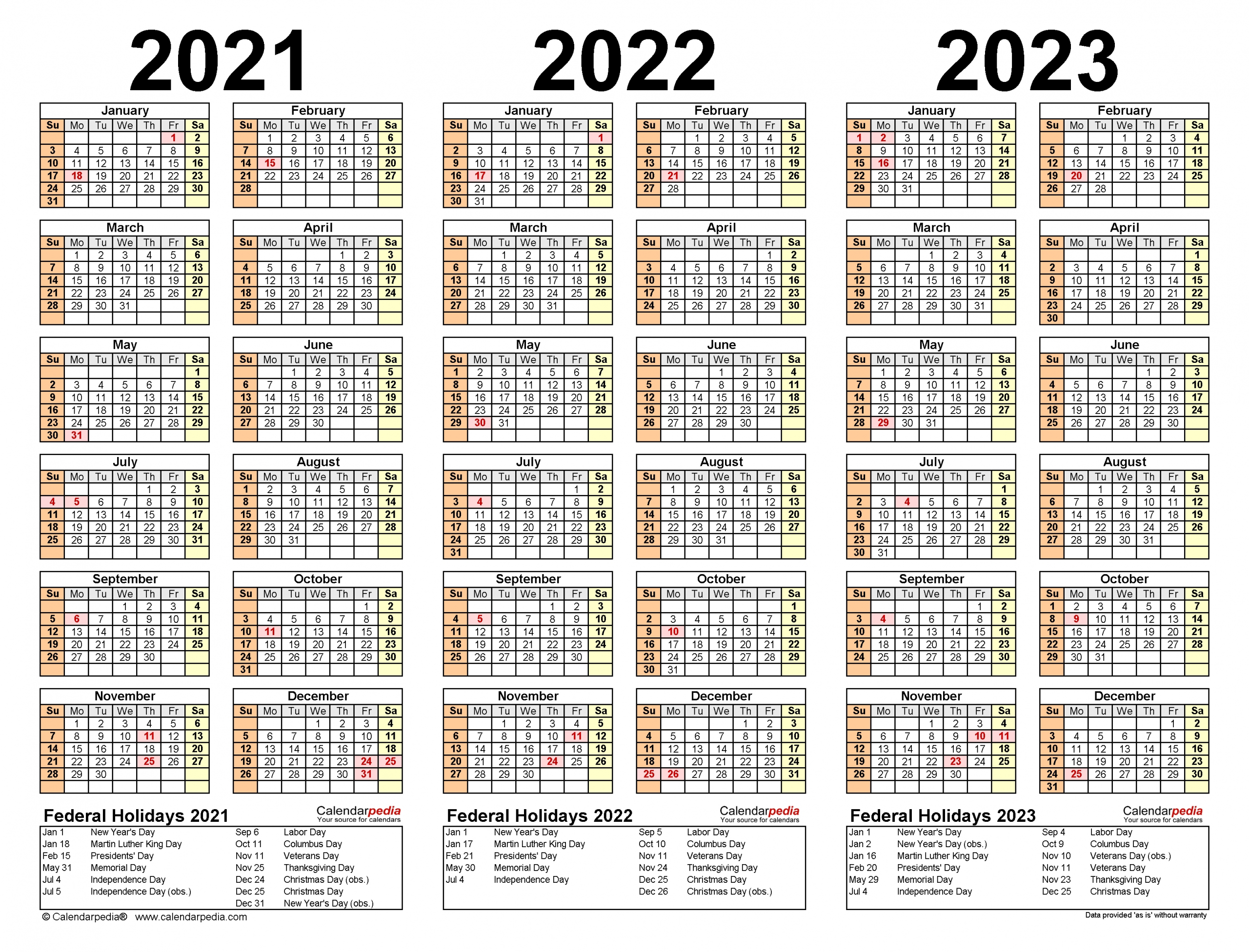 Printable 3 Year Calendar 2021 To 2023 | Free Letter Templates