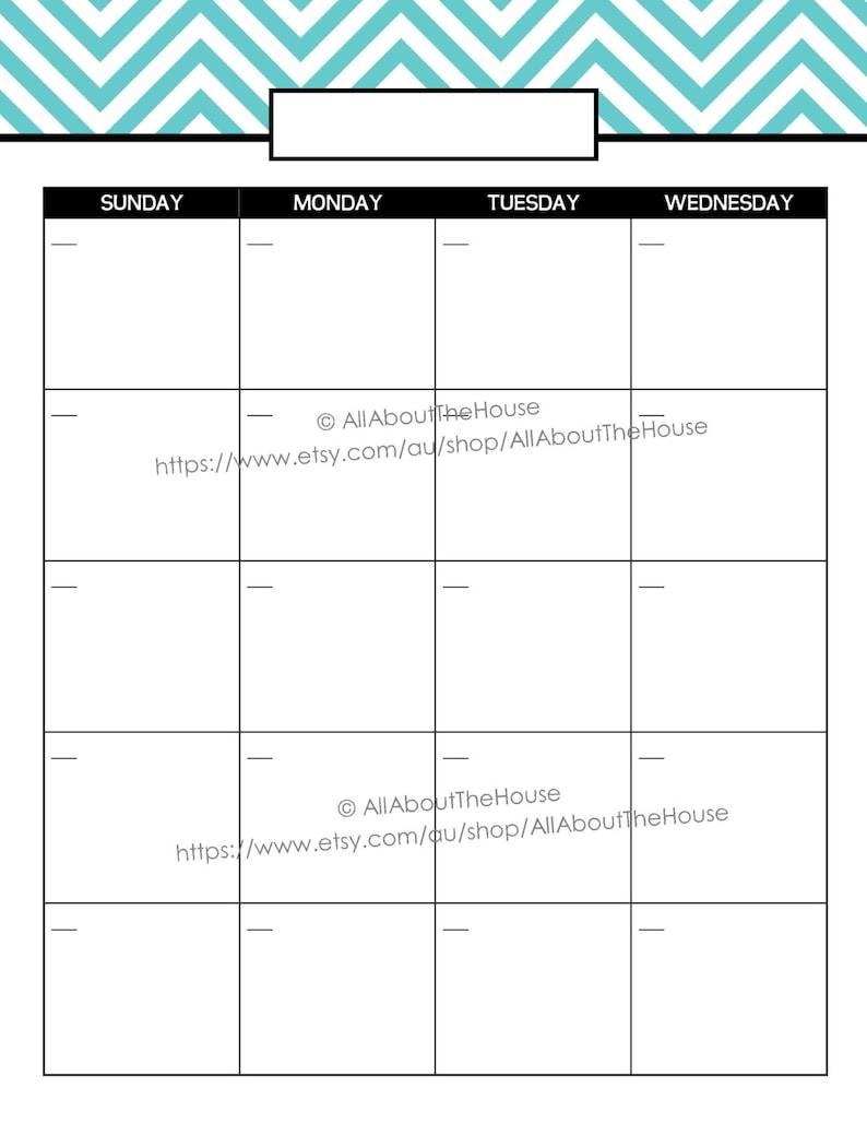 Printable Calendar 2 Page Month Printable Us Letter & Half