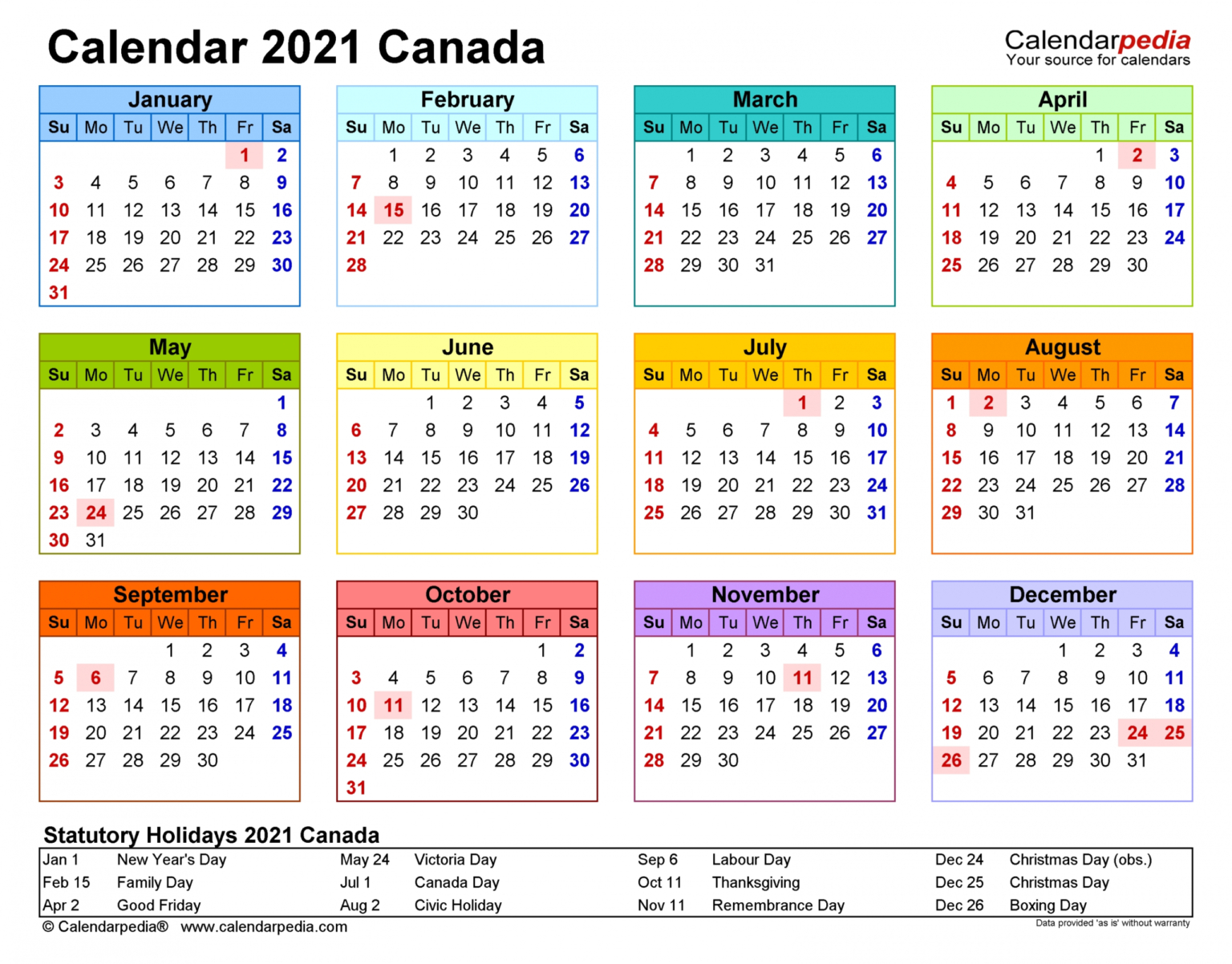 Printable Calendar 2021 South Africa