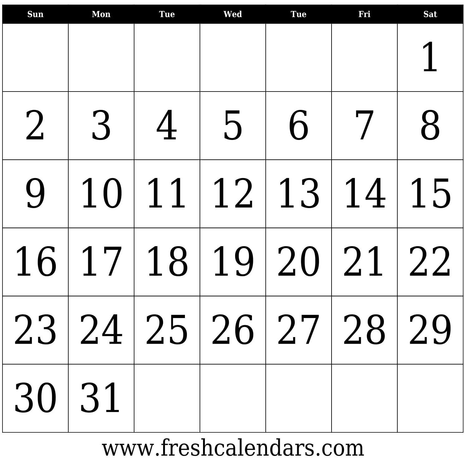 Printable Calendar Numbers 1 31 | Ten Free Printable