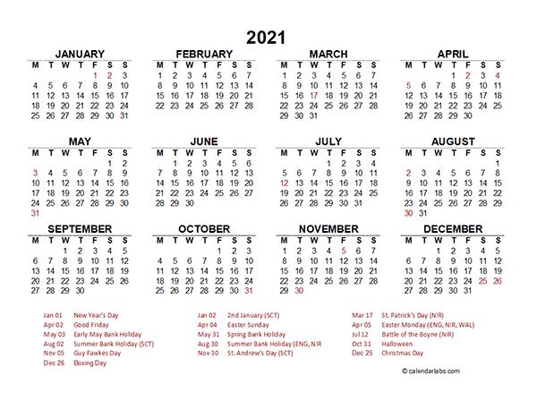 Printable Calendar Year At A Glance 2021 / 2021 Year At A