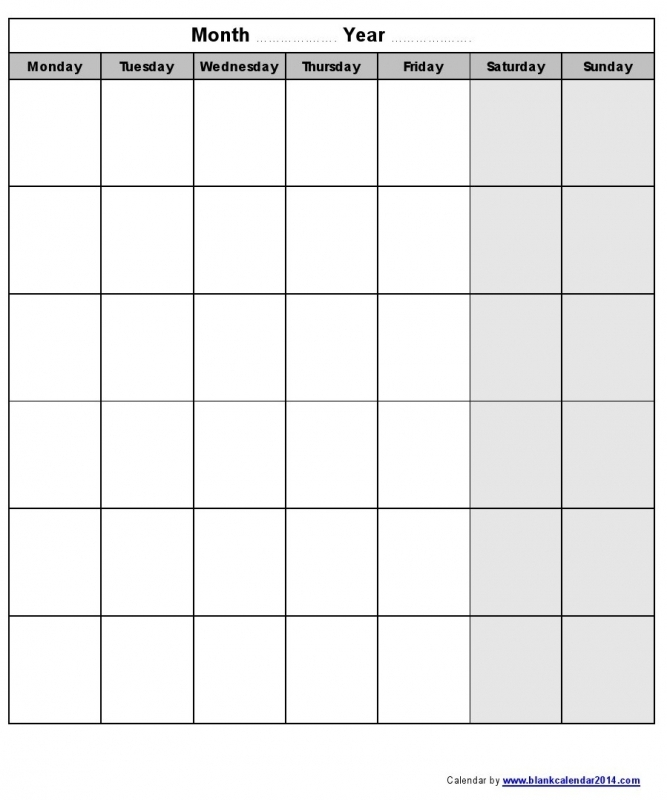 Printable Monday Through Sunday Calendars :-Free Calendar