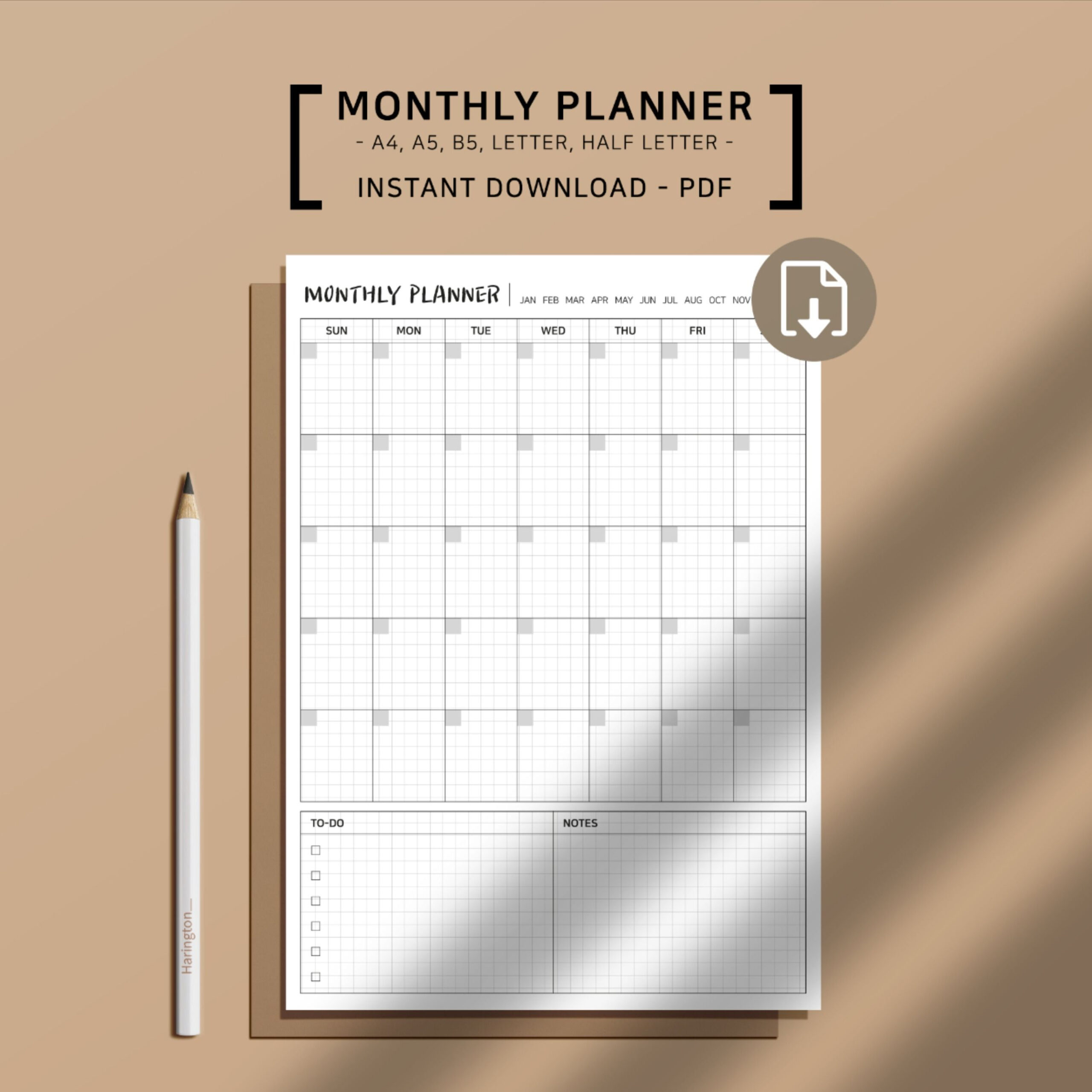 Printable Monthly Planner Pages Monthly Schecule Undated