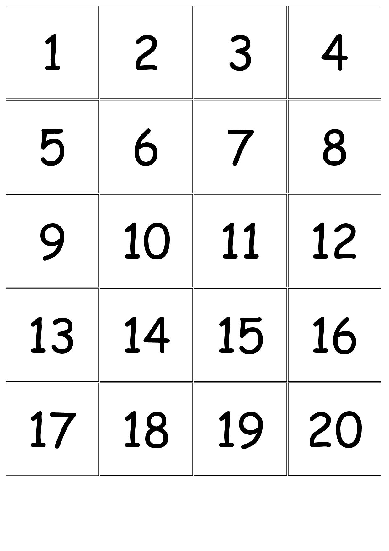 Printable Number Cards 1-31 Calendar :-Free Calendar Template