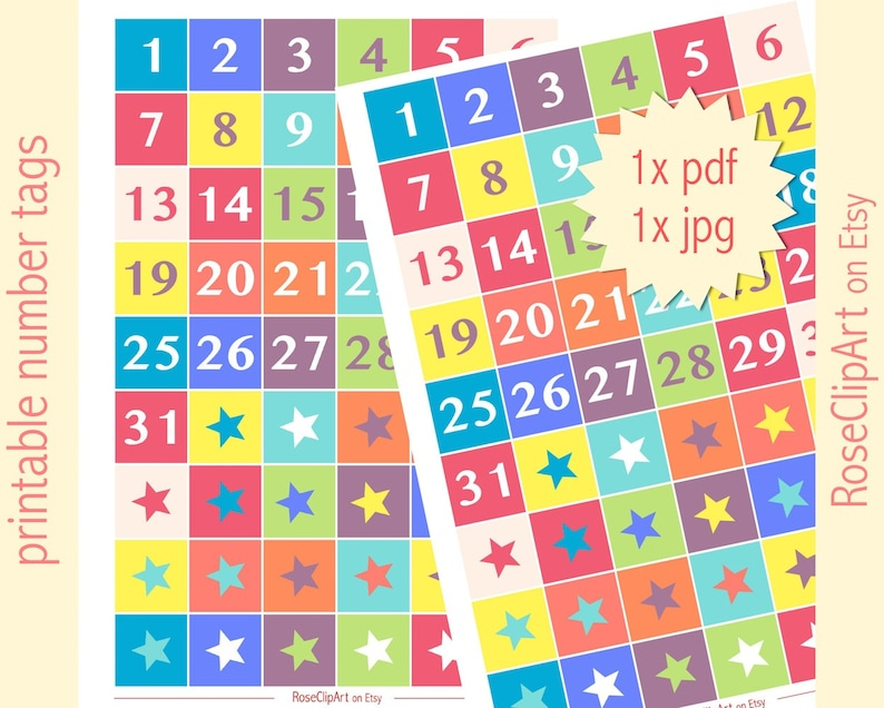 Printable Numbers 1-31 Instant Download Advent Calendar   Etsy