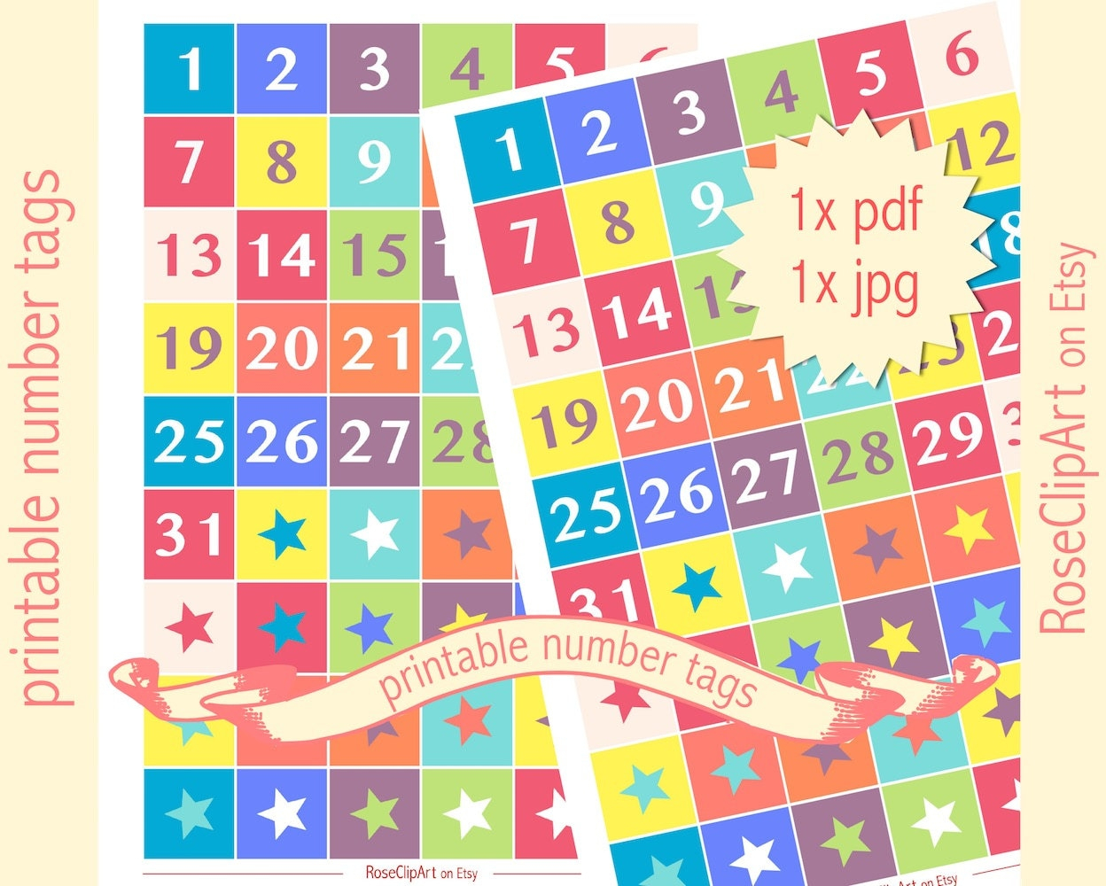 Printable Numbers 1-31 Instant Download Advent Calendar