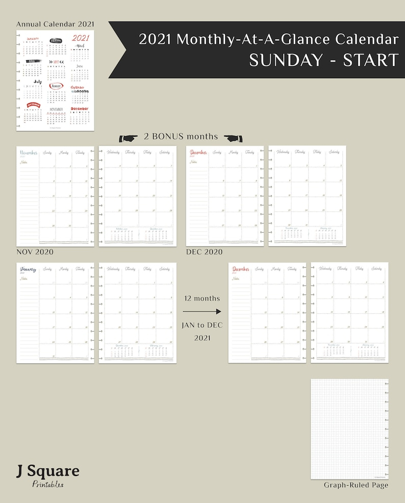 Printable Pdf 2021 Monthly At A Glance Calendar Insert For