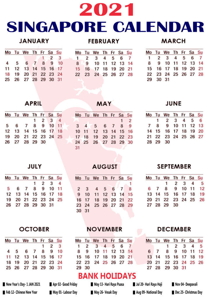 Printable Singapore 2021 Calendar With Holidays & Observation