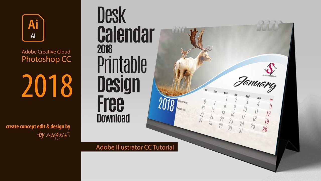 Professional Printable Desk Calendar Free I Adobe