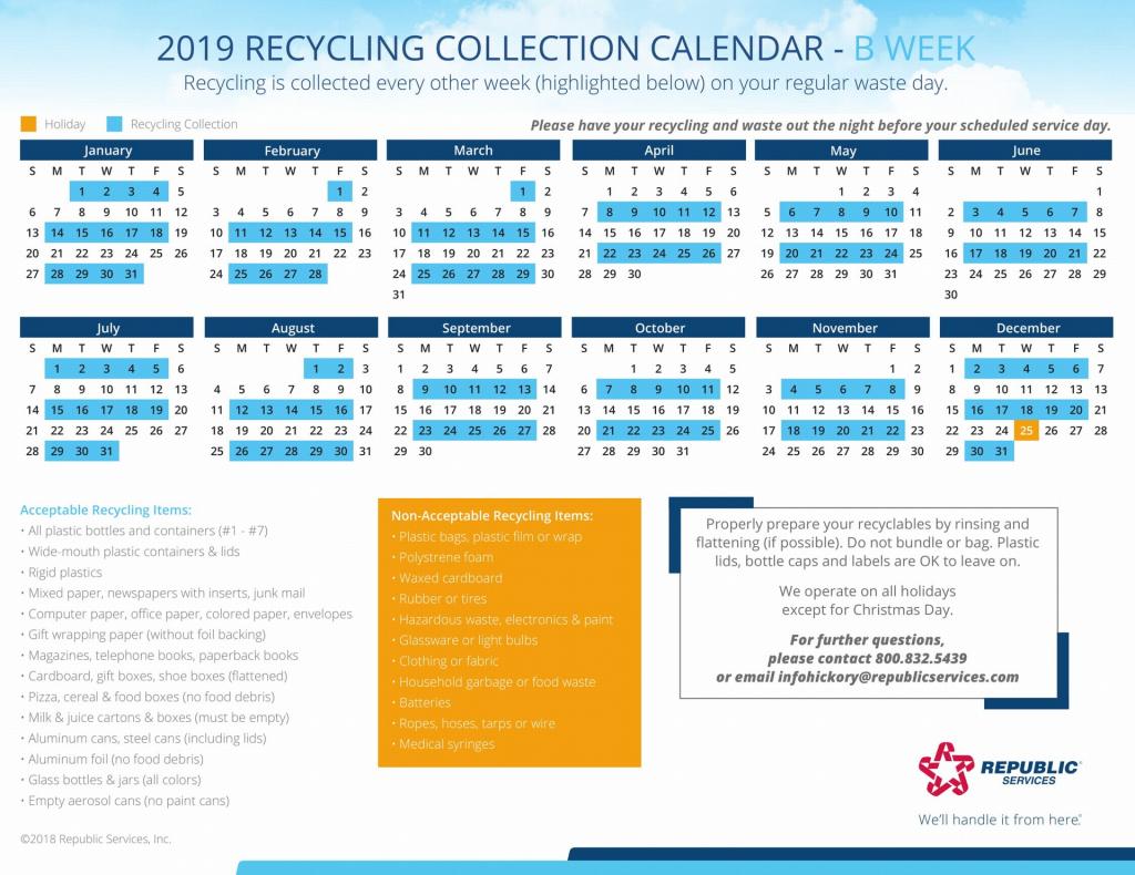 Republic Services Recycling Schedule Calendar - Calendar