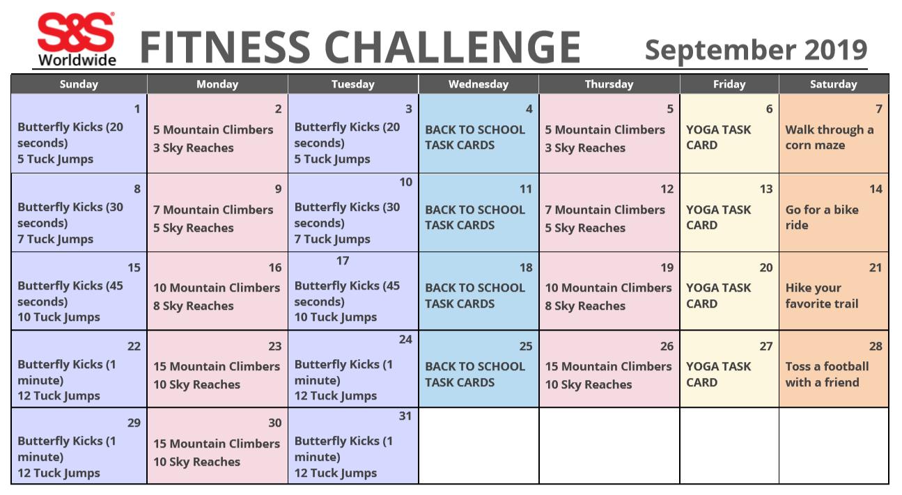 September 2019 Fitness Challenge Calendar - S&S Blog