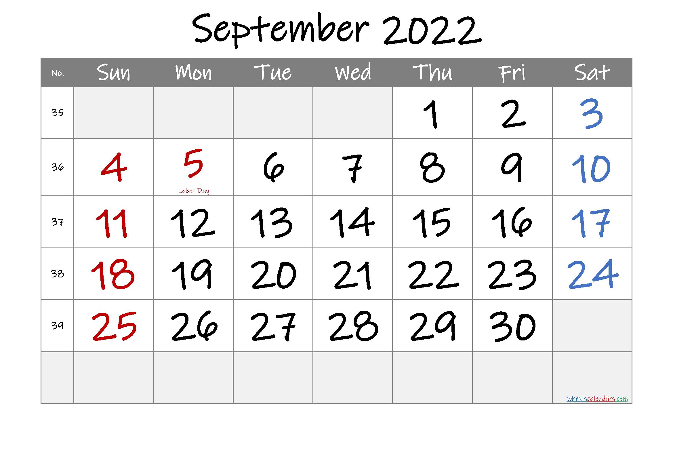 September 2022 Free Printable Calendar-Template No.if22M33
