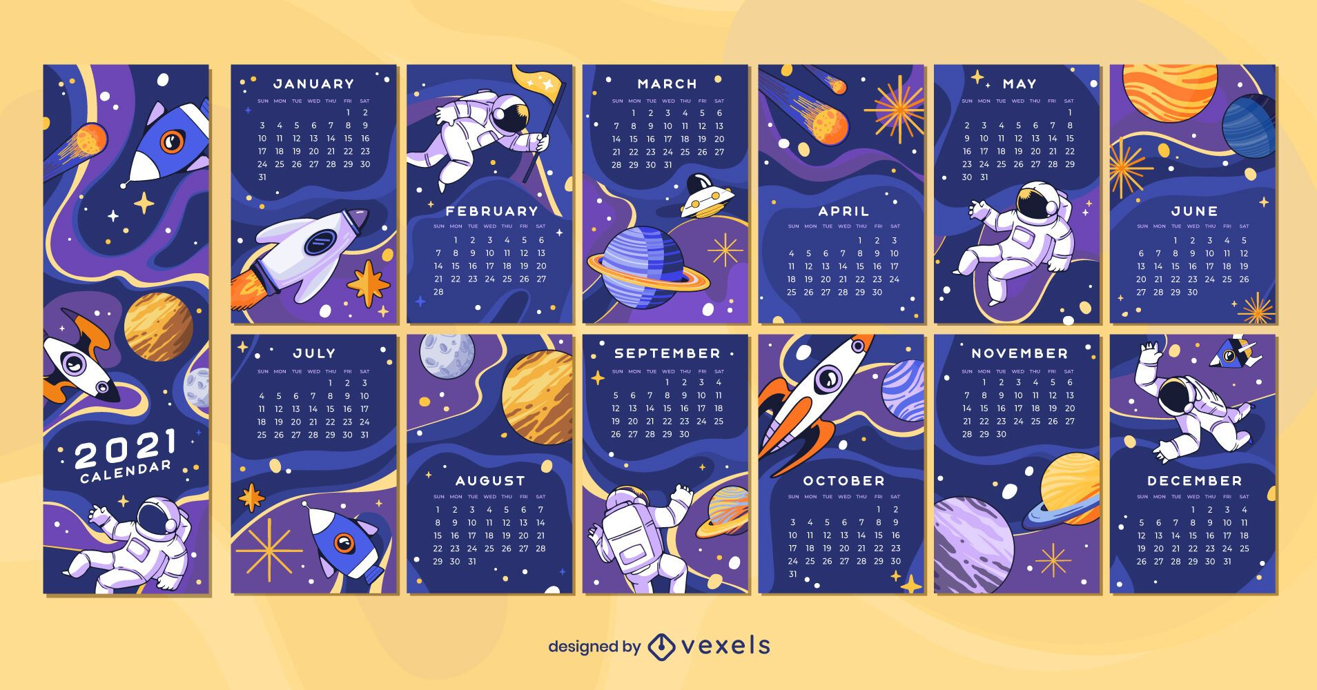 Space 2021 Calendar Design - Vector Download